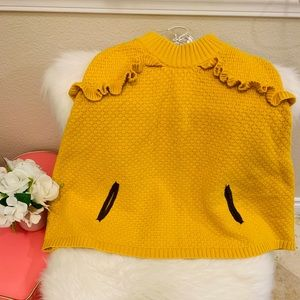 Janie and Jack Sweater cape in mustard color